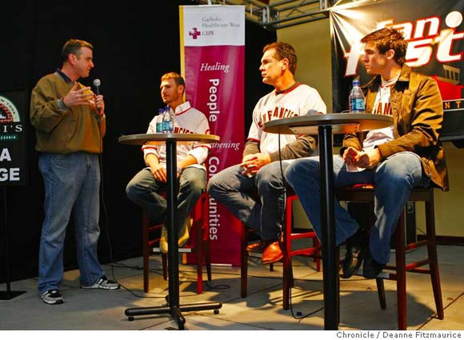 giantsfanfest_0089_df.jpg  Brian Murphy emcees a question and answer session from the fans with Kevin Frandsen, Bruce Bochy, and Barry Zito. New San Francisco Giants were on hand at the Giants Fanfest at AT&T Park. Photographed in San Francisco on 1/20/07. Chronicle Photo / Deanne Fitzmaurice Ran on: 02-11-2007  (From left) Kevin Frandsen, Bruce Bochy and Barry Zito field questions at KNBR's Giants FanFest at AT&T Park. Photo: Deanne Fitzmaurice