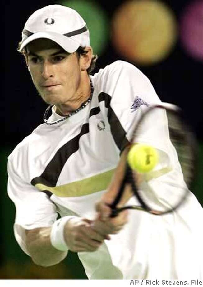 Andy Murray of Great Britain returns the ball to Rafael Nadal of Spain during their fourth round match at the Australian Open tennis tournament in Melbourne, Monday, Jan. 22, 2007. (AP Photo/Rick Stevens) Photo: RICK STEVENS