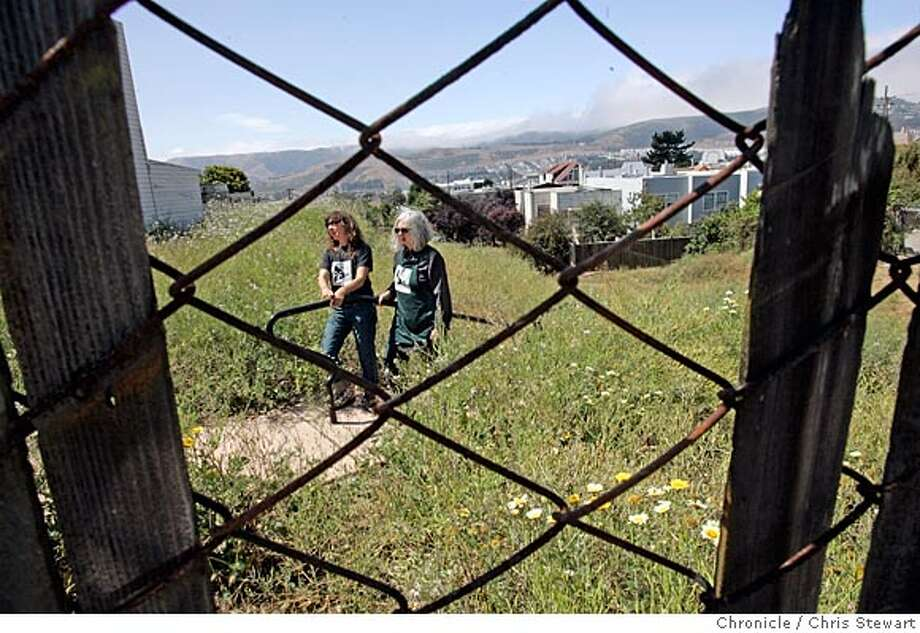 Event on 7/29/05 in San Francisco. Anne Seeman and Fran Martin are transforming six parcels of reclaimed public land into parklands, known as the Visitacion Valley Greenway Project. All but one have been at least partially developed. Fran's husband Jim Growden has also lent a hand, especially with the park gates.  Chris Stewart / The Chronicle Photo: Chris Stewart