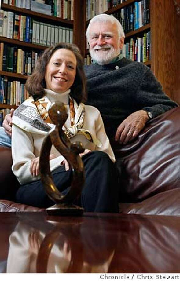 """JA_BARNES_021_cs.jpg  Jefferson Awards for Public Service winners Bonnie and Mark Barnes with a hand-carved sculpture entitled """"A Healer's Touch."""" The sculpture is made by the Shona Tribe of Zimbabwe, Africa. The Barnes are co-founders of the DAISY (Diseases Attacking the Immune System) Foundation which gives out the DAISY Award for Extraordinary Nurses in honor of their son, J. Patrick Barnes, who died of ITP or Idiopathic Thrombocytopenic Purpura. The sculpture is part of the award. More information can be had at www.daisyfoundation.org. Photographed February 7, 2007 in Glen Ellen, California.  Chris Stewart / The Chronicle MANDATORY CREDIT FOR PHOTOG AND SF CHRONICLE/ -MAGS OUT Photo: Chris Stewart"""