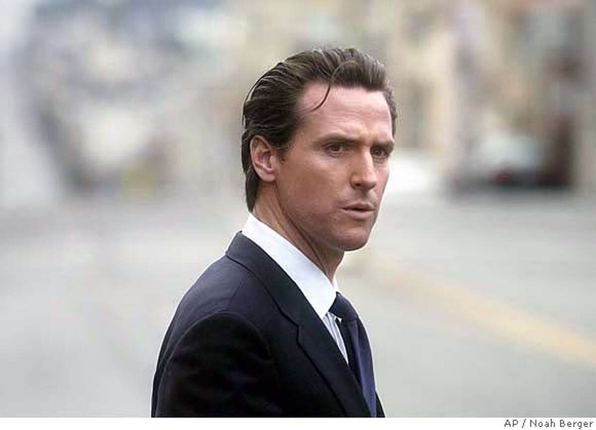 San Francisco Mayor Gavin Newsom leaves the funeral of Leo McCarthy, former speaker of the California Assembly and three term lieutenant governor, on Friday, Feb. 9, 2007, in San Francisco. (AP Photo/Noah Berger)