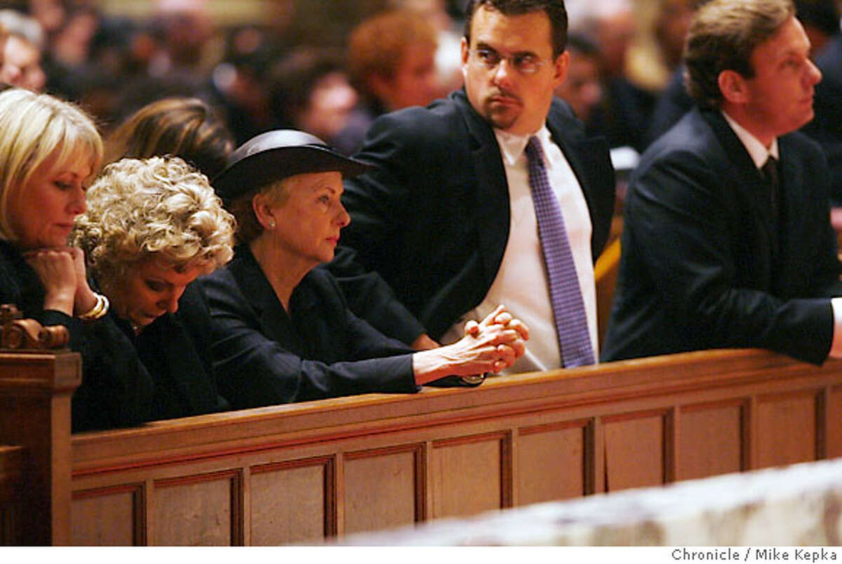 Flanked by their children Jackie McCarthy (center with hat) says goodbye to her husband Lt. Governor Leo T. McCarthy during funeral services Friday 2/9/07 at St. Ignatius Church in San Francisco, Calif. Mike Kepka / The Chronicle Jackie McCarthy (cq) USF website.