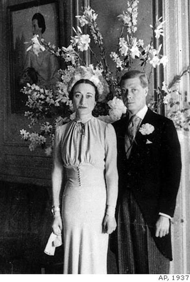 ** FILE ** The Duke and Duchess of Windsor pose after their wedding at the Chateau de Cande near Tours, France, on June 3, 1937. King Edward VIII hoped to tell Britons of his love for American divorcee Wallis Simpson and persuade them he should marry her and still keep his throne, records unsealed Thursday, Jan. 29, 2003 showed. After his abdication, Edward and his new wife became the Duke and Duchess of Windsor.(AP Photo) Photo: Ap
