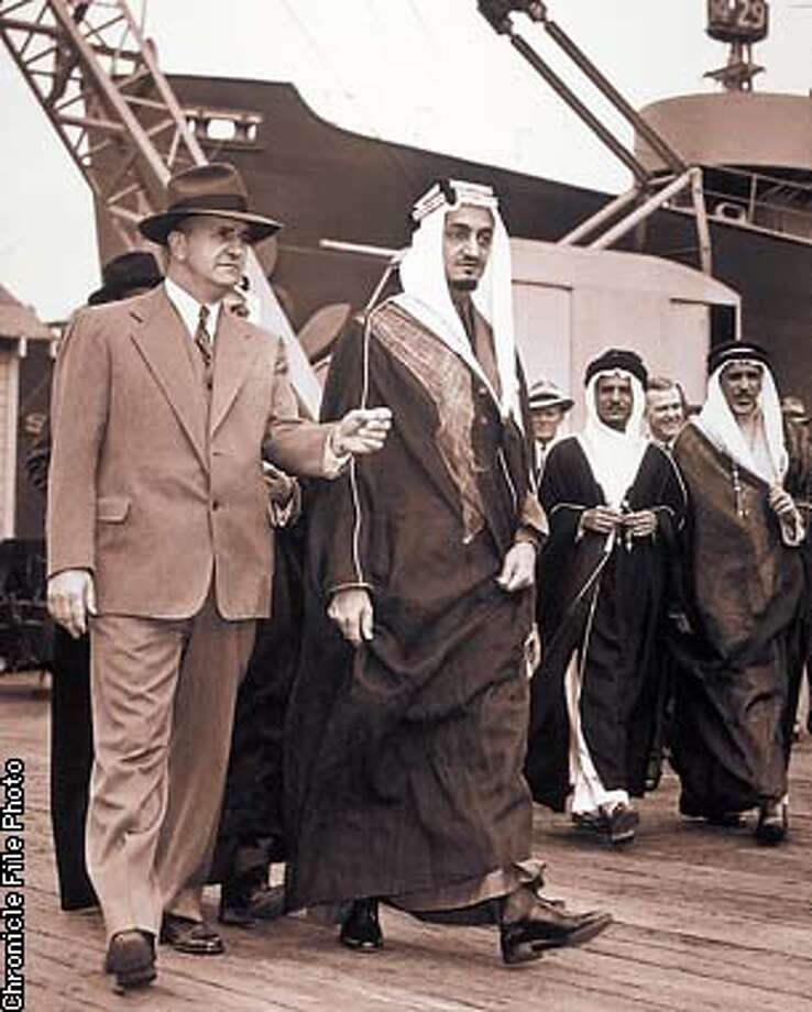 Stephen Bechtel Sr. and Saudi Arabia's Prince Faisal, later the country's king, tour Bechtel's Marinship shipyard in Saulsalito in 1944. Bechtel formed a close working relationship with the Saudi royal family on 4/30/03 in . / The Chronicle