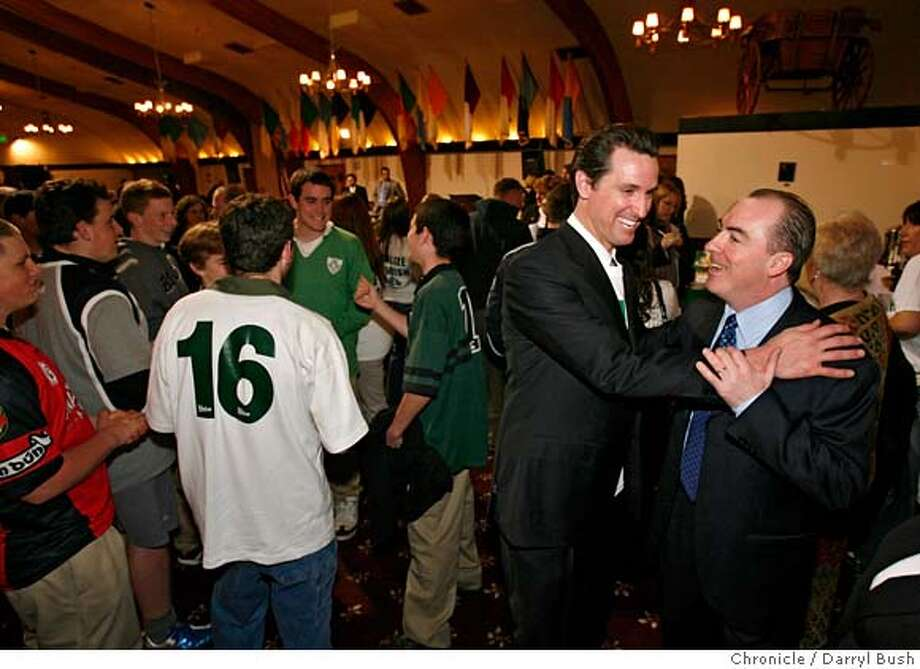 irish02_0003_db.JPG  Mayor Gavin Newsom greets Ciaran Staunton from New York City, vice chairman of Irish Lobby for Immigration Reform, right, as he attends a rally held by many hundreds of Irish Americans and Irish immigrants, held by the Irish Lobby For Immigration Reform, at the United Irish Cultural Center in San Francisco, CA, on Thursday, February, 1, 2007. photo taken: 2/1/07  Darryl Bush / The Chronicle ** Ciaran Staunton (cq) MANDATORY CREDIT FOR PHOTOG AND SF CHRONICLE/ -MAGS OUT Photo: Darryl Bush