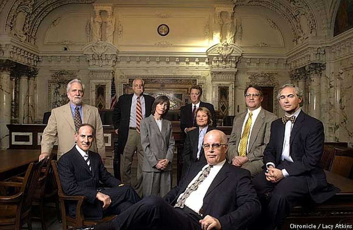 Top Attorneys in San Francisco// Left to right/Back to front Dennis Riordan,Jim Brosnahn, Jim Collins,(BACK) Larry Sonsini, Elizabeth Cabraser, Chris Arguedas,Jack Londen(MIDDLE) Joe Cotchett, Boris Feldman (FRONT) SAN FRANCISCO CHRONICLE/LACY ATKINS