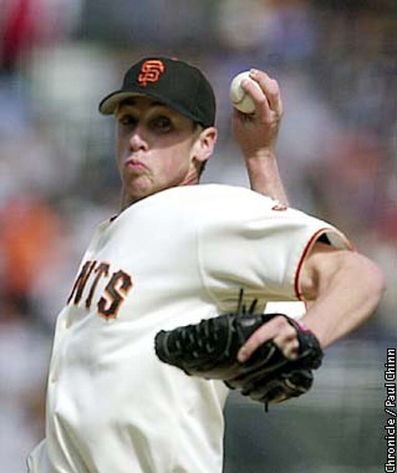 Rookie Jesse Foppert pitched 5 1/3 innings to earn his first Major League victory Saturday. The Giants vs. Cincinnati Reds at Pacific Bell Park on 5/3/03 in San Francisco. PAUL CHINN / The Chronicle Photo: PAUL CHINN