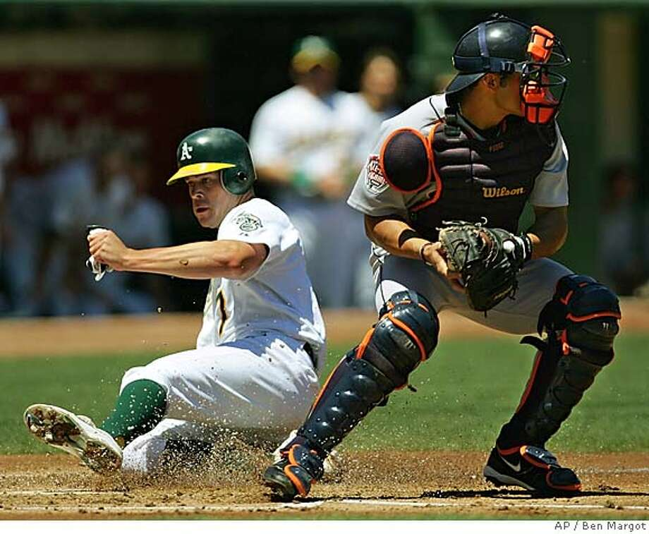 Oakland Athletics' Bobby Crosby, left, scores behind Detroit Tigers catcher Ivan Rodriguez in the first inning Sunday, July 31, 2005, in Oakland, Calif. Crosby scored on a hit by Eric Chavez. (AP Photo/Ben Margot) Photo: BEN MARGOT