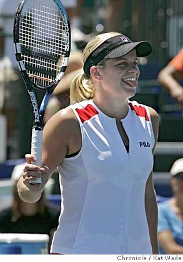 STANFORDTENNIS_144_KW.jpg  On 7/31/05 in Stanford Kim Clijsters reacts after taking the win of the 2005 US Open/Bank of the West Classic Sunday over Venus Williams in two sets (7/5 and 6/2) at the Taube Family Tennis Stadium in Stanford.  Kat Wade/ The Chronicle MANDATORY CREDIT FOR PHOTOG AND SF CHRONICLE/ -MAGS OUT Photo: Kat Wade