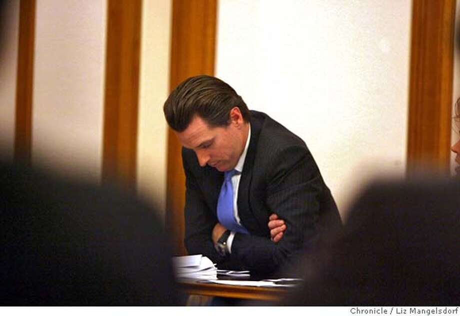 Mayor Gavin Newsom attends a SF Stat meeting at San Francisco City Hall on Feb. 5, 2007, after releasing a press release saying he had stopped drinking. SF Stat is a monthly meeting on city statistics.  Liz Mangelsdorf/ SF Chronicle Ran on: 02-06-2007  Mayor Gavin Newsom attends a meeting of SF Stat, a program he created to track city statistics, after he told his department heads that he has quit drinking. He does not plan to step down. Photo: Liz Mangelsdorf