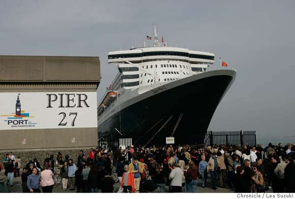 queen06_502_ls.jpg The Queen Mary 2 docked at Pier 27 in San Francisco drew many people who came down to take a look. Mayor Newsom trys a seat in the Commodore Club aboard the Queen Mary 2 before the Plaque and Key, a traditional ceremony when the boat comes into port, and Mayor Newsom's presenting of a proclomation. Media tours of the Queen Mary 2 and Mayor Newsom presents a proclomation to Captain Christopher Rynd on Monday, February 5, 2007. Photo by Lea Suzuki/The San Francisco Chronicle Photo taken on 2/5/07, in San Francisco, CA. **(themselves) cq.