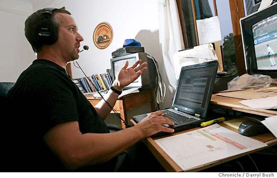 "Joe Castellano broadcasts ""Major League Baseball Live Late Edition,"" from his home in the Sunset district.  Event on 7/5/05 in San Francisco.  Darryl Bush / The Chronicle Photo: Darryl Bush"