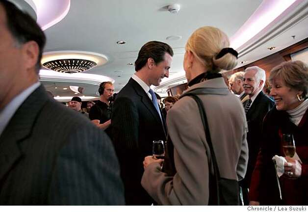 queen06_223_ls.jpg Mayor Gavin Newsom talks with guests in the Commodore Club aboard the Queen Mary 2 before the Plaque and Key, a traditional ceremony when the boat comes into port, and Mayor Newsom's presenting of a proclamation. Media tours of the Queen Mary 2 and Mayor Newsom presents a proclomation to Captain Christopher Rynd on Monday, February 5, 2007. Photo by Lea Suzuki/The San Francisco Chronicle  Photo taken on 2/5/07, in San Francisco, CA. **(themselves) cq. Photo: Lea Suzuki