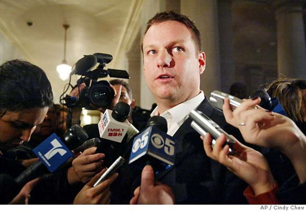 Peter Ragone, communications director for San Francisco Mayor Gavin Newsom, speaks to reporters outside the mayor's office at City Hall in San Francisco, Thursday, Feb. 1, 2007. Newsom's former deputy chief of staff, Alex Tourk, resigned as manager of the mayor's re-election campaign Wednesday after approaching Newsom about his relationship with his wife, Ruby Rippey-Tourk, who worked as the mayor's appointments secretary until last spring. (AP Photo/The Examiner, Cindy Chew) ** MANDATORY CREDIT MAGS OUT ** Ran on: 02-02-2007 Mayor Gavin Newsom, at a packed news conference at City Hall, apologizes for an affair he had with the wife of his campaign manager. MANDATORY CREDIT MAGS OUT