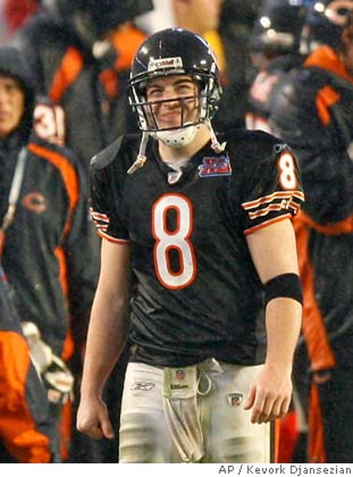 Chicago Bears quarterback Rex Grossman (8) looks up at the scoreboard after Indianapolis Colts kicker Adam Vinatieri kicked a 20-yard field goal in the third quarter of Super Bowl XLI football game at Dolphin Stadium in Miami on Sunday, Feb. 4, 2007. (AP Photo/Kevork Djansezian)