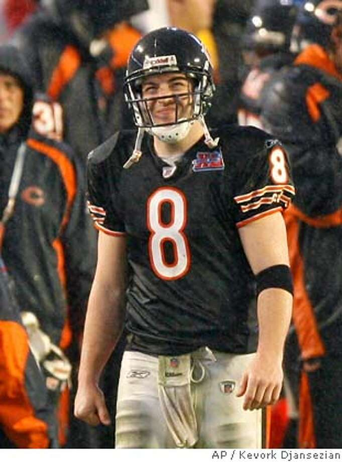 Chicago Bears quarterback Rex Grossman (8) looks up at the scoreboard after Indianapolis Colts kicker Adam Vinatieri kicked a 20-yard field goal in the third quarter of Super Bowl XLI football game at Dolphin Stadium in Miami on Sunday, Feb. 4, 2007. (AP Photo/Kevork Djansezian) Photo: Kevork Djansezian