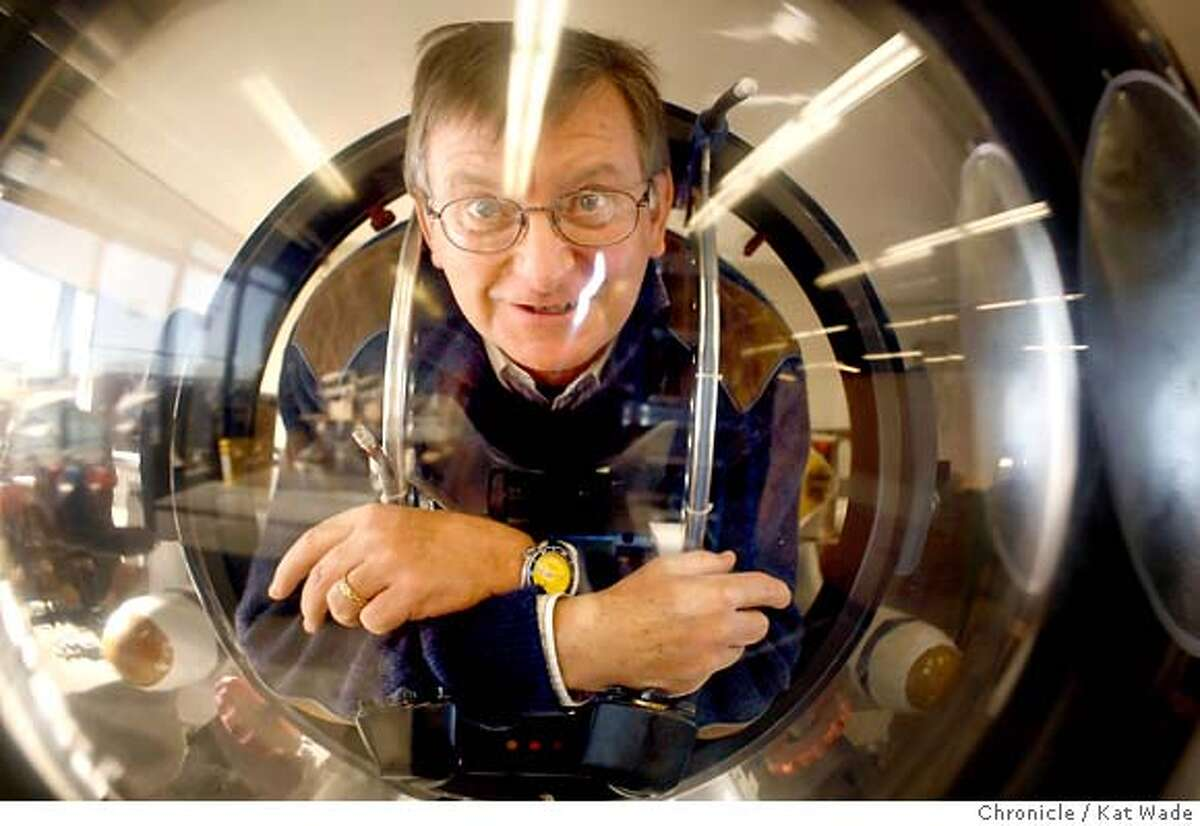 �SUB_0166_KW_.jpg On Tuesday January 9, 2007 Graham Hawkes, founder of Hawkes Ocean Technology, who holds the world record for a solo deep dive in one of his submarines, poses for a portrait inside of his prototype underwater aircraft the Deep Flight 1 in his Point Richmond work shop. Kat Wade/The Chronicle Mandatory Credit for San Francisco Chronicle and photographer, Kat Wade, Mags out