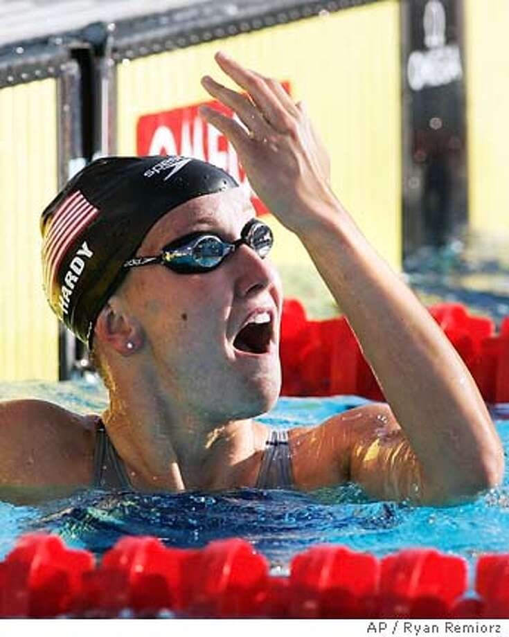 ** CORRECTS TO SEMIFINAL, NOT FINAL, REMOVES MEDAL REFERENCE ** United States' Jessica Hardy reacts to her world record performance in the women's 100-meter breaststroke semifinal at the World Aquatics Championships Monday, July 25, 2005 in Montreal. (AP PHOTO/Ryan Remiorz, CP) Photo: RYAN REMIORZ