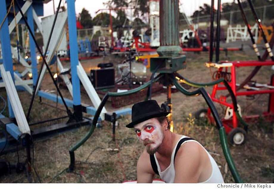 Mark Perez, the creator of a life-sized version of the children's game Mousetrap, has been trying for years to get his contraption out to the desert, and is sure that he will be is finally finished and ready to make its debut at Burning Man 2005. 7/22/05 Mike Kepka / The Chronicle Photo: Mike Kepka