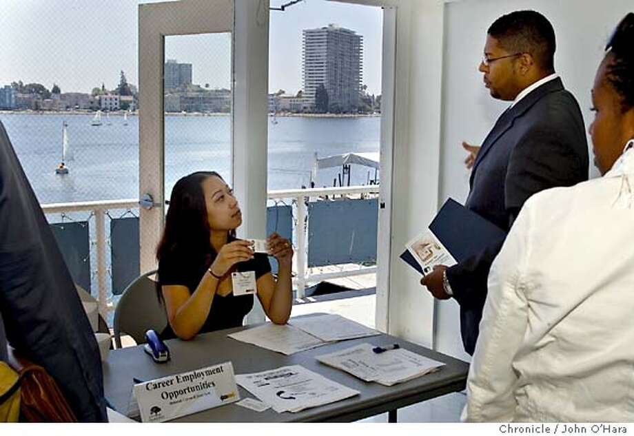 Lake Merritt Boat House  Tayari Ferrell 'cq.' from Scotlan Center,is a youth job developer.  Talks with Dany Seth of Career Employment  Oakland Mayor Jerry Brown holds a job fair at Lake Merritt to help ex-cons get jobs and stay out of trouble. The move is the latest in his anti-crime program, which has helped cut the city's murder rates by setting curfews on the same parolees he wants to put back in the work force.  Photo/ John O'Hara
