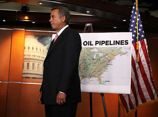 WASHINGTON, DC - JANUARY 18:  U.S. Speaker of the House Rep. John Boehner (R-OH) stands next to a map of current oil pipelines during a news conference January 18, 2012 on Capitol Hill in Washington, DC. House Republicans held a news conference to respond to Obama Administration's decision on rejecting the controversial Keystone XL pipeline project.  (Photo by Alex Wong/Getty Images) Photo: Alex Wong, Getty Images