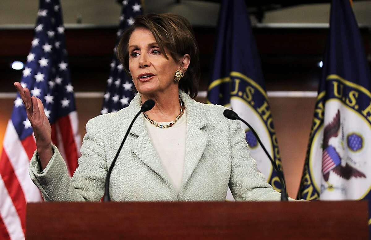 WASHINGTON, DC - JANUARY 18: U.S. House Minority Leader Rep. Nancy Pelosi (D-CA) speaks during a news conference January 18, 2012 on Capitol Hill in Washington, DC. Pelosi discussed on various topics including Obama Administration's decision on rejecting the controversial Keystone XL pipeline project. (Photo by Alex Wong/Getty Images)