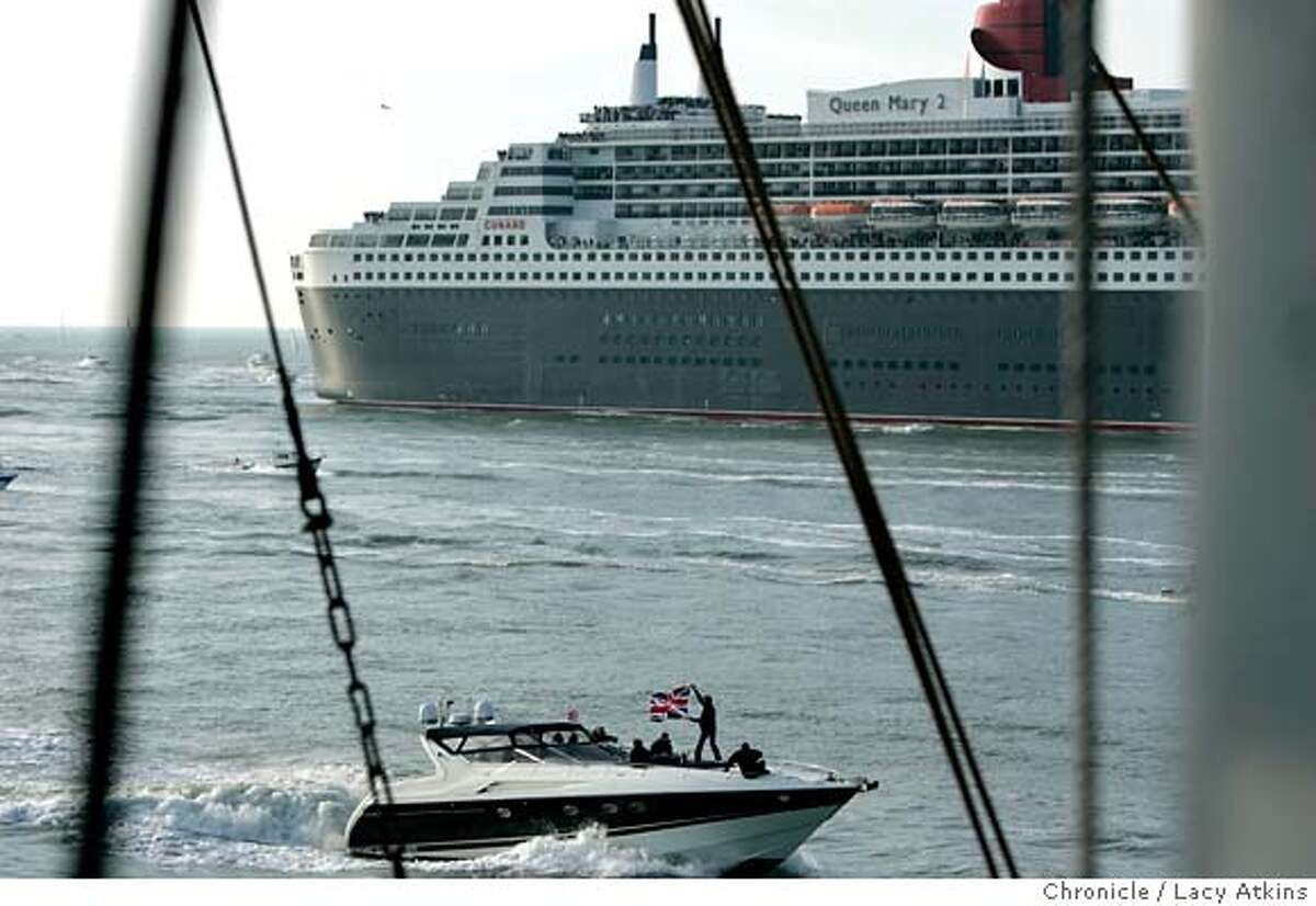 Among the hundreds of boats that went outside the Golden Gate Bridge to welcome the MAry II was a boat waving a British Flag, Sudnay Feb. 4, 2007, in SanFrancisco, CA. The Mary II was actually built in France and not England. (Lacy Atkins/The Chronicle)