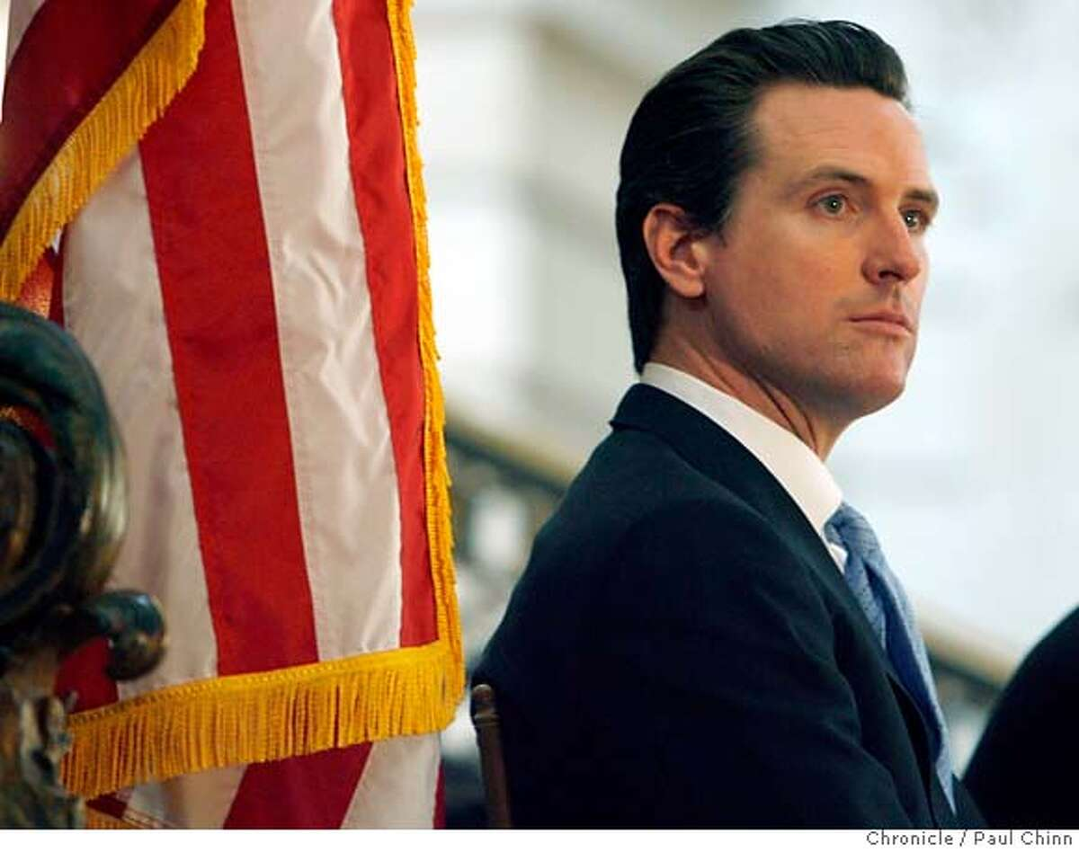 Mayor Gavin Newsom attended a kick-off ceremony for Black History Month at City Hall in San Francisco, Calif. on Friday, Feb. 2, 2007 one day after acknowledging an affair with the wife of his former campaign manager Alex Tourk. PAUL CHINN/The Chronicle