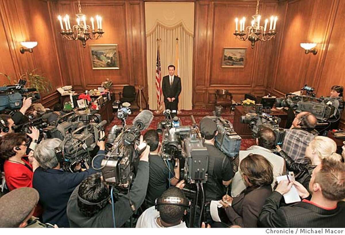 San Francisco Mayor Gavin Newsom holds a morning press conference where he admitted to the alleged affair with his appointment secretary a year and a half ago, the wife of his campaign manager. Photographed in, San Francisco, Ca, on 2/1/07. Photo by: Michael Macor/ San Francisco Chronicle