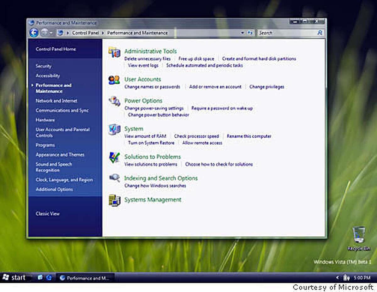 Microsoft Windows Vista: Control Panel. Courtesy of Microsoft