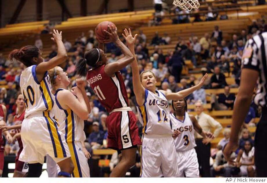 UC Santa Barbara guard Ariana Gnekow, right, tries to block Stanford guard Candice Wiggins during the first half of their women's basketball game Thursday, Feb. 1, 2007, in Santa Barbara, Calif. (AP Photo/Nick Hoover) Photo: Nick Hoover