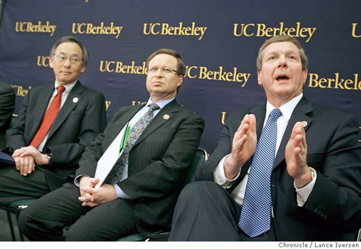 ALTFUEL02_4699.JPG Lawrence Berkeley Lab Director Steve Chu, BP Chief Scientist Steven Koonin with Robert Malone, chairman and president of BP America, take questions from the media an announcement in Berkeley, Thursday, Feb. 1, 2007, of the creation of the Energy Biosciences Institute. Scientists at the University of California, Berkeley, will team with colleagues in Illinois in a national search for new, clean sources of energy, backed by $500 million from oil company BP. February 1, 2007. BERKELEY.By Lance Iversen/San Francisco Chronicle