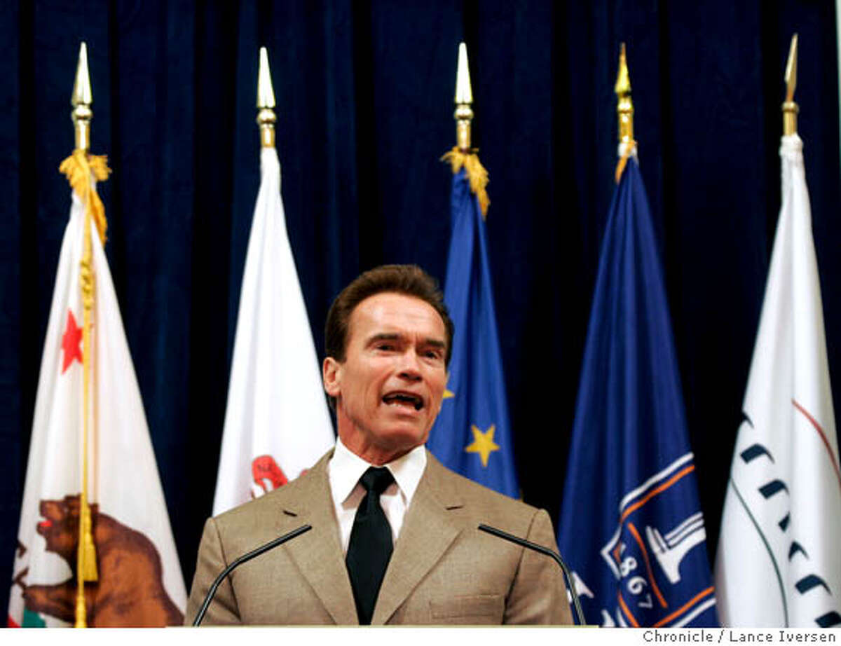 ALTFUEL02_4517.JPG California Gov. Arnold Schwarzenegger makes an announcement in Berkeley, Thursday, Feb. 1, 2007, of the creation of the Energy Biosciences Institute. Armed with a half-billion dollars from energy giant BP, scientists at the University of California, Berkeley, will lead an international effort to find cleaner alternatives to oil and gas. February 1, 2007. BERKELEY. By Lance Iversen/San Francisco Chronicle