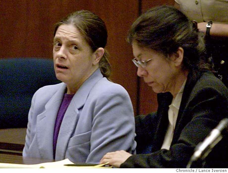 ** FILE ** Marjorie Knoller, left, reacts as a guilty verdict is read in a courtroom in Los Angeles, Thursday, March 21, 2002. At right is Knoller's attorney Nedra Ruiz. A state appeals court on Thursday, May 5, 2005, reinstated the second-degree murder conviction of Knoller whose giant dogs mauled and killed a neighbor in the hallway of an apartment building. (AP Photo/Lance Iversen, Pool) Ran on: 05-06-2005  Marjorie Knoller could be sent to prison for from 15 years to life under the murder conviction. Ran on: 05-06-2005  Marjorie Knoller Ran on: 05-06-2005  Marjorie Knoller could be sent to prison for from 15 years to life under the murder conviction. Ran on: 05-06-2005 POOL PHOTO Photo: LANCE IVERSEN