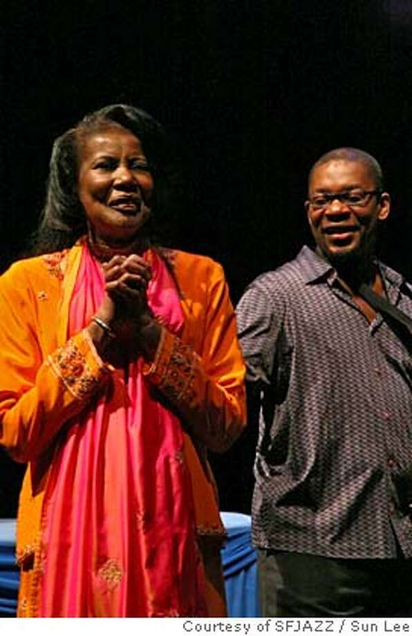 "Here are some Alice images. It is VERY important that the credit reads  ""Alice Coltrane performance as part of the San Francisco Jazz Festival,  Sun Lee, courtesy of SFJAZZ.""  Ran on: 02-02-2007  Alice Coltrane and her son Ravi at the San Francisco Jazz Festival. Photo: Sun Lee, Courtesy Of SFJAZZ"