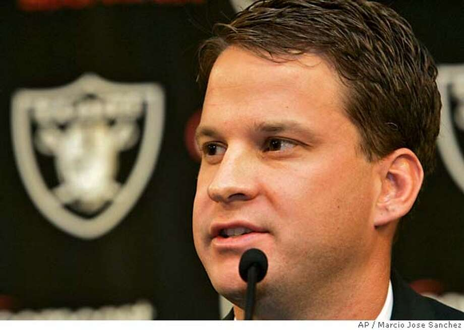 Lane Kiffin talks to the media after being introduced as the Oakland Raiders new head coach in Alameda, Calif., Tuesday, Jan. 23, 2007. (AP Photo/Marcio Jose Sanchez) EFE OUT Photo: Marcio Jose Sanchez