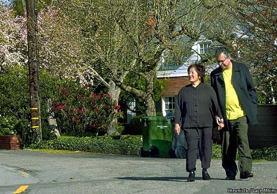 Carolyn and Gary Soto in Park Hills walks around there neighborhood,in Berkeley, March 24,2003.  SAN FRANCISCO CHRONICLE/LACY ATKINS Photo: LACY ATKINS