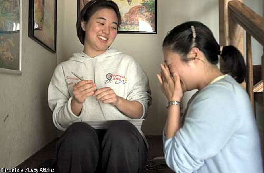 Mandi and Mari Matsumoto, daughters of MArvin Matsumoto, a hiker who was found after being lost since Monday in Joshua Tree.  4/25/03 in San Jose. / The Chronicle
