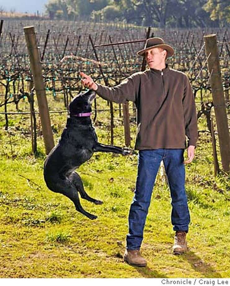 RIESLING02_373_cl.JPG  Story on the resurgence of California riesling wine. Photo of Jim Klein, winemaker at Navarro Vineyards, in the riesling vineyard area. His dog is named Rosy.  Event on 1/26/07 in Philo. photo by Craig Lee / The Chronicle MANDATORY CREDIT FOR PHOTOG AND SF CHRONICLE/ -MAGS OUT Photo: Photo By Craig Lee