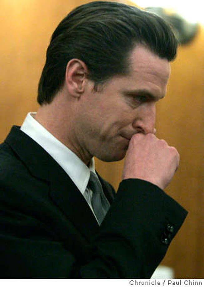 Mayor Gavin Newsom publicly apologized for an extramarital affair he had with the wife of a former staffer during a packed news conference at City Hall in San Francisco, Calif. on Thursday, Feb. 1, 2007.  PAUL CHINN/The Chronicle Photo: PAUL CHINN
