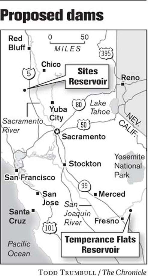 Proposed Dams. Chronicle graphic by Todd Trumbull