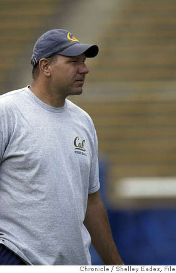 On 8/13/05 in Berkeley Cal football player Assistant Coach Jim Michalczik at a pre-season football practice at Memorial Stadium, UC Berkeley. Chronicle Photo by Shelley Eades Photo: Shelley Eades