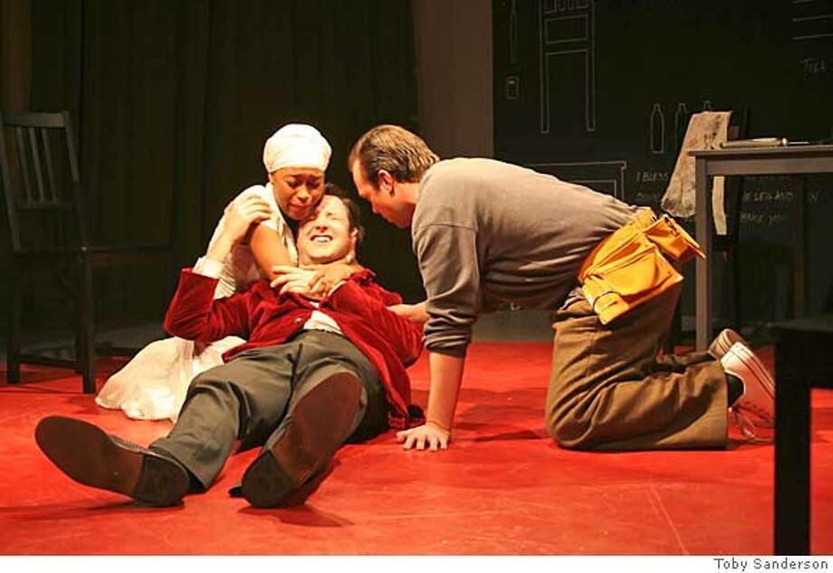 "Majidah Al-Husaam, Lewis Heathcote, & Daegan Palermo in Chekov's ""The Proposal."" Credit: Toby Sanderson Photo: Toby Sanderson"