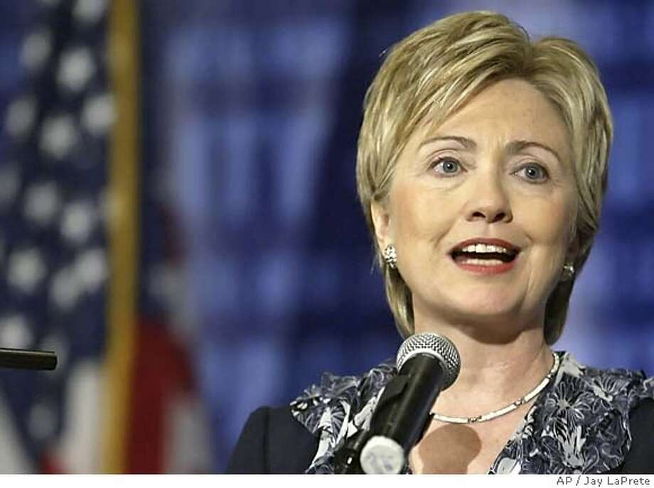 en. Hillary Rodham Clinton, D-NY, speaks to members and supporters of the Democratic Leadership Council Monday, July 25, 2005, in Columbus, Ohio. Clinton, a potential 2008 presidential candidate, pressed Democrats to adopt a tough stand on national security and urged the party to show a united front to counter ``the hard-right ideology in Washington.''(AP / Jay LaPrete)