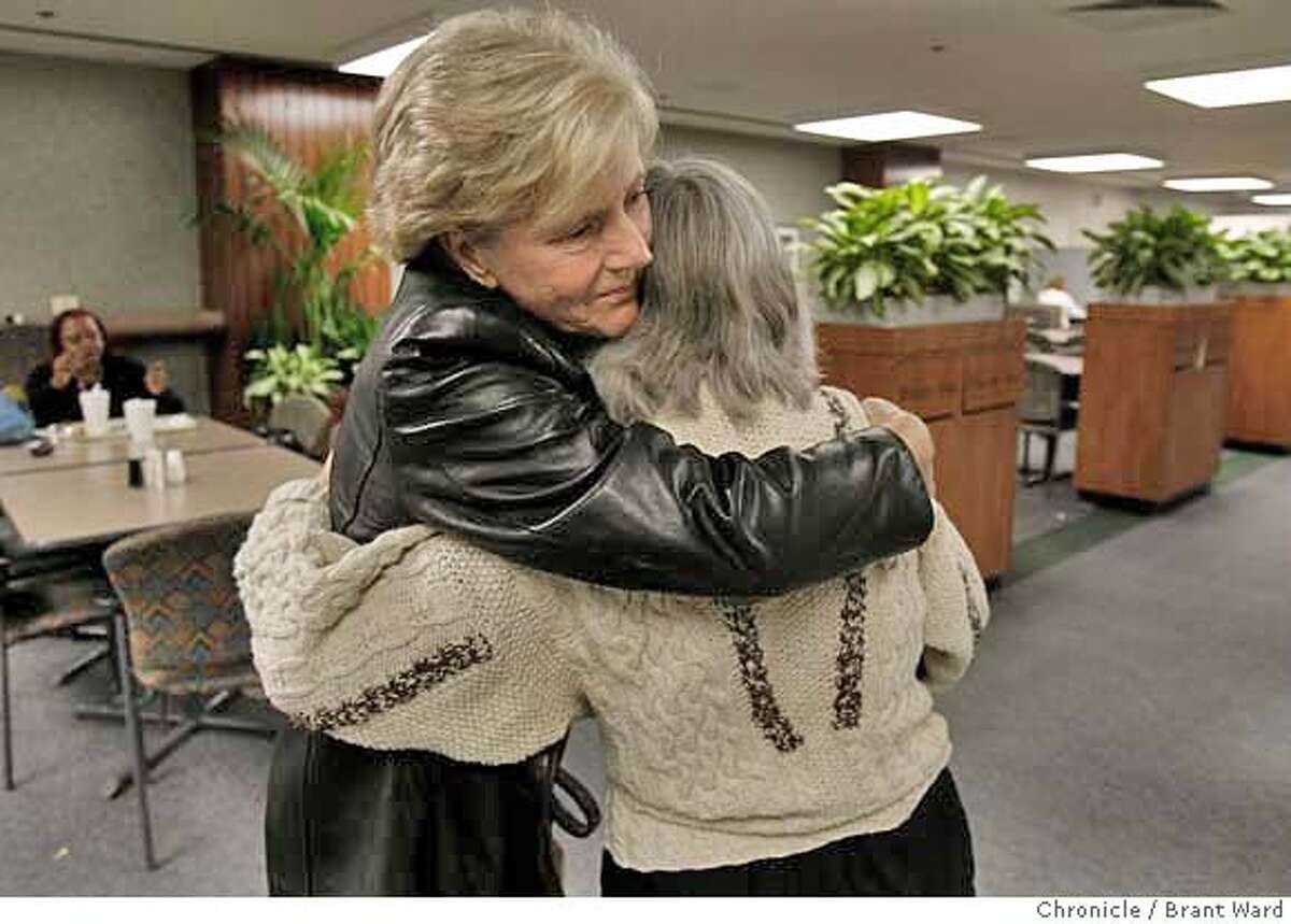 lion130.JPG After the press conference, Nell Hamm got a hug from her husband's cousin (didn't want to give name). They are waiting for Wednesdays operation. The victim of a mountain lion attack at Prairie Creek State Park will undergo an operation at California Pacific Medical Center in San Francisco Wednesday to repair his scalp. Nell Hamm, the wife of victim Jim Hamm held a press conference Tuesday to talk about the ordeal. {Brant Ward/San Francisco Chronicle}1/30/07