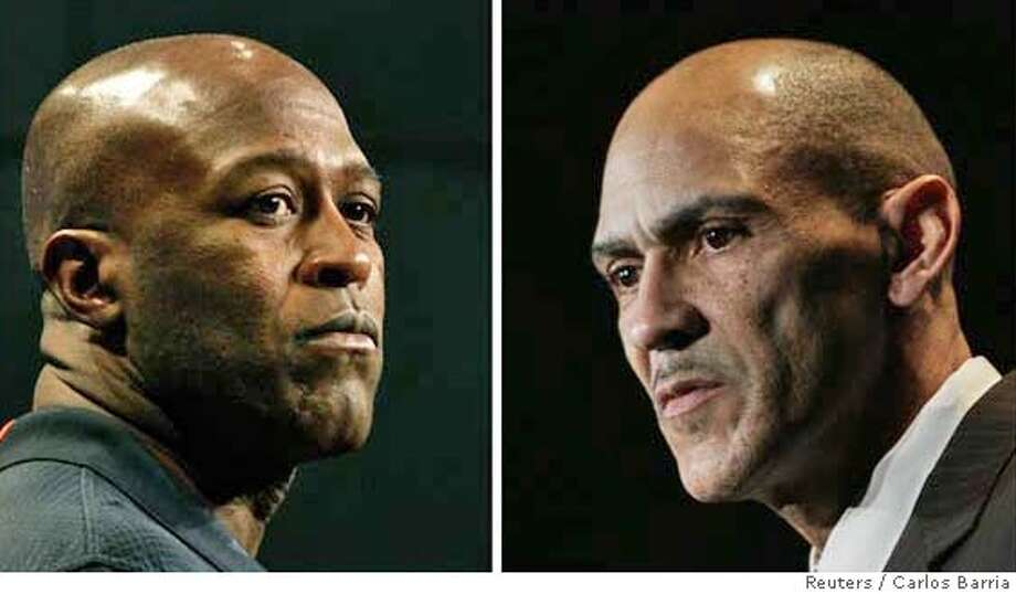 A combination photograph shows Chicago Bears head coach Lovie Smith (L) during a news conference in Miami Beach and Indianapolis Colts head coach Tony Dungy during a news conference in Fort Lauderdale, Florida, January 29, 2007. The Colts and Bears will play the in Super Bowl XLI February 4, 2007. REUTERS/Carlos Barria (UNITED STATES) 0 Photo: CARLOS BARRIA