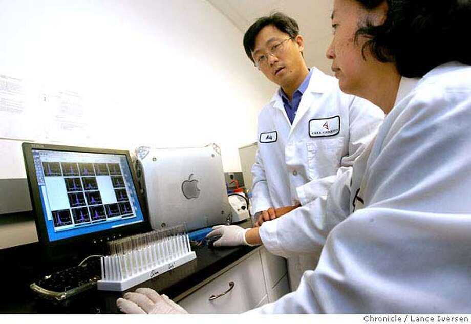 JPMORGAN07_0857.JPG  Andy Lin VP of Process Science and Qun Li Principal Asst scan cell surface markers through a FacScan machine at Cell Genesys, a South San Francisco biotech pharmaceutical company that�s developing healthcare drugs. Cell Genesys is now conducting late-stage trials on an experimental drug that will activate the immune system to fight prostate cancer.January 4, 2007 .SAN FRANCISCO.By Lance Iversen/San Francisco Chronicle MANDATORY CREDIT PHOTOG AND SAN FRANCISCO CHRONICLE/ MAGS OUT Photo: By Lance Iversen