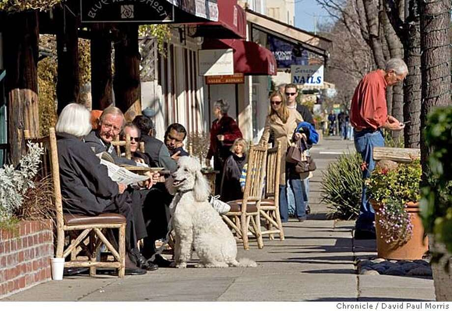 SARATOGA, CA- JANUARY 21: Joanna and Ruut van den Hoed enjoy the sun with Bianca their standard size poodle along Big Basin Way in the quant Saratoga Village on January 21, 2007 in Saratoga, California. (Photo by David Paul Morris/The Chronicle) Photo: David Paul Morris