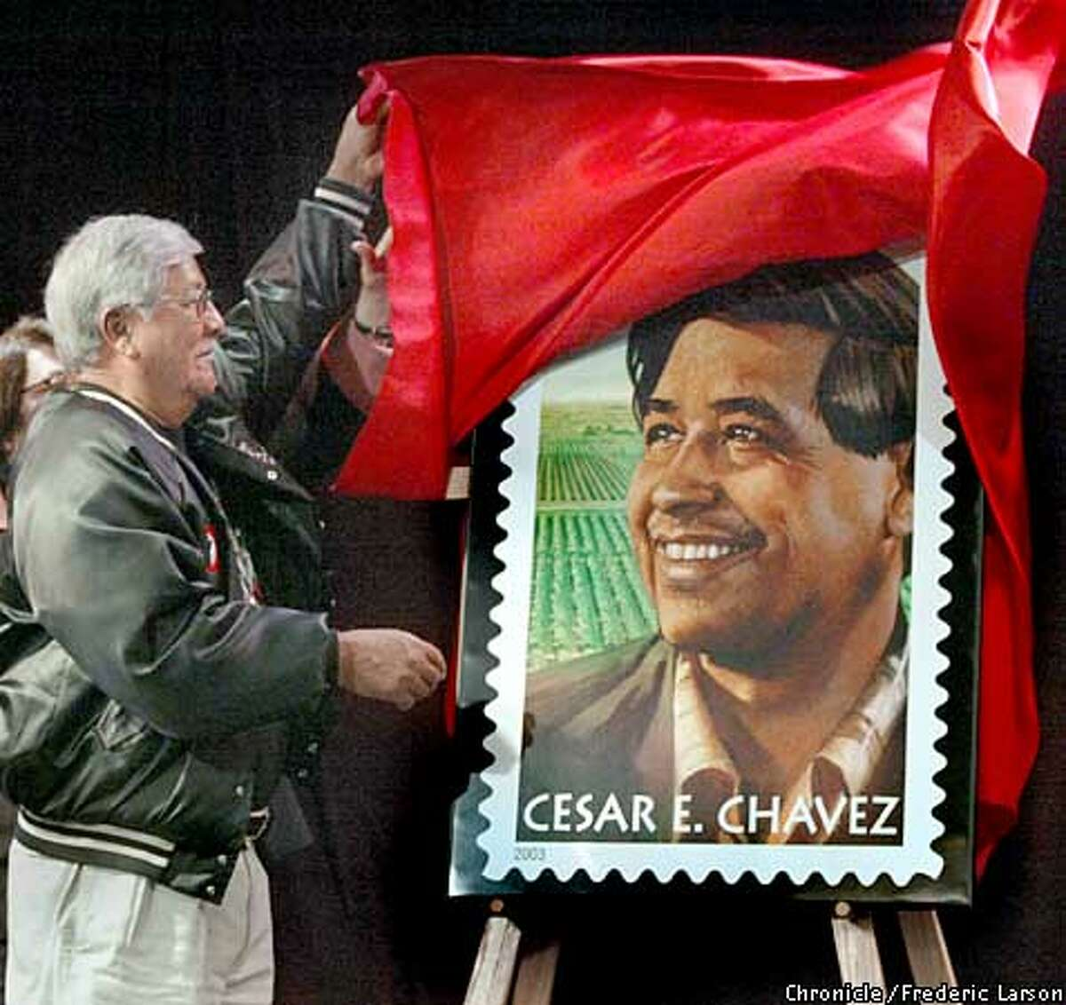 The San Francisco Post Office joins citizens of SF at the Mission Cultural Center for Latino Arts to honor the life's work and legacy of civil rights and farm labor leader Cesar E. Chavez with the unveiling by his brother Richard Chavez of the Cesar E. Chavez commemorative stamp. on 4/24/03 in San Francisco. FREDERIC LARSON / The Chronicle