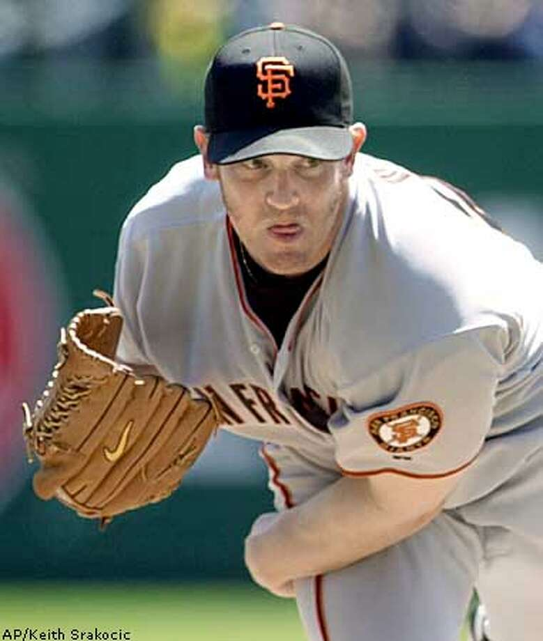 San Francisco Giants starting pitcher Damian Moss throws a pitch to Pittsburgh Pirates batter Abraham Nunez during the first inning of his 3-1 win in Pittsburgh on Thursday, April 24, 2003. (AP Photo/Keith Srakocic) Photo: KEITH SRAKOCIC